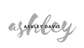 stylized script-style font in grey that says ashley, with a serif style font in black with the words ASHLEY DAVIS overlaid on top