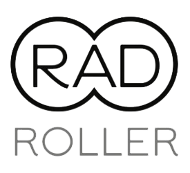 RAD Roller logo - two conjoined circles with RAD in the center, with ROLLER printed underneath
