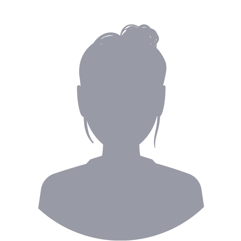 placeholder image for instructor headshot - a white circle with a grey shilouette of a woman with her hair in a bun
